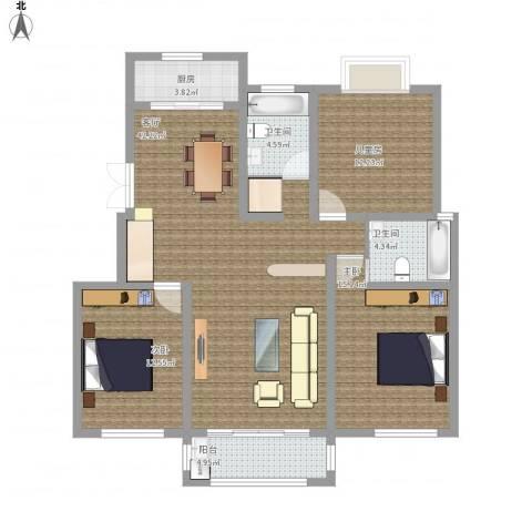 百草苑3室1厅2卫1厨143.00㎡户型图