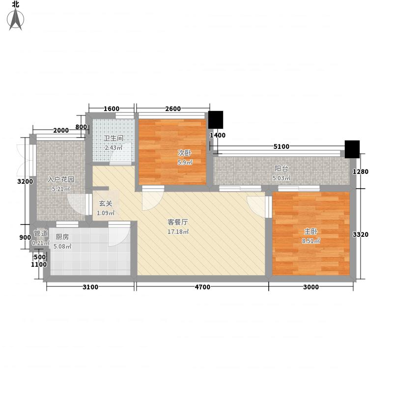 巴黎瑰园64.00㎡2、4、5、7栋H2型标准层户型2室2厅1卫1厨