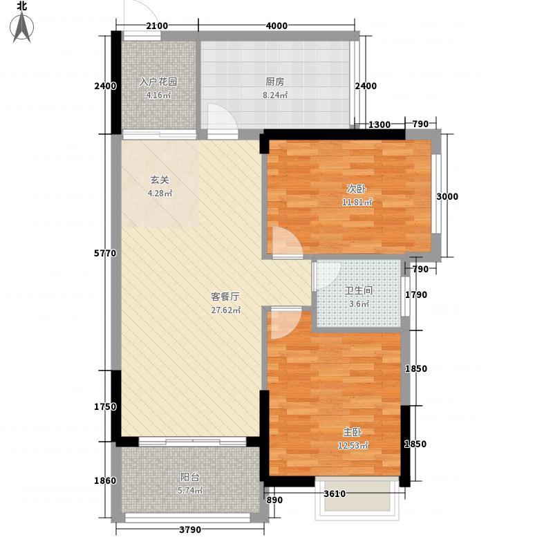 广汇・圣湖城1384.88㎡13#楼一单元042室户型2室2厅1卫1厨