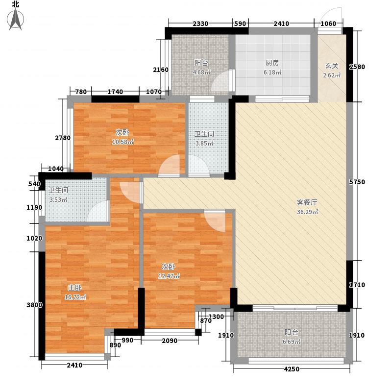 广汇・圣湖城131113.83㎡13#楼1单元3室户型3室2厅2卫1厨