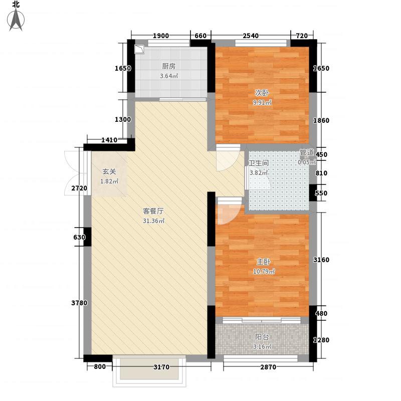 滨河园二期・时代城F2户型2室1厅1卫1厨