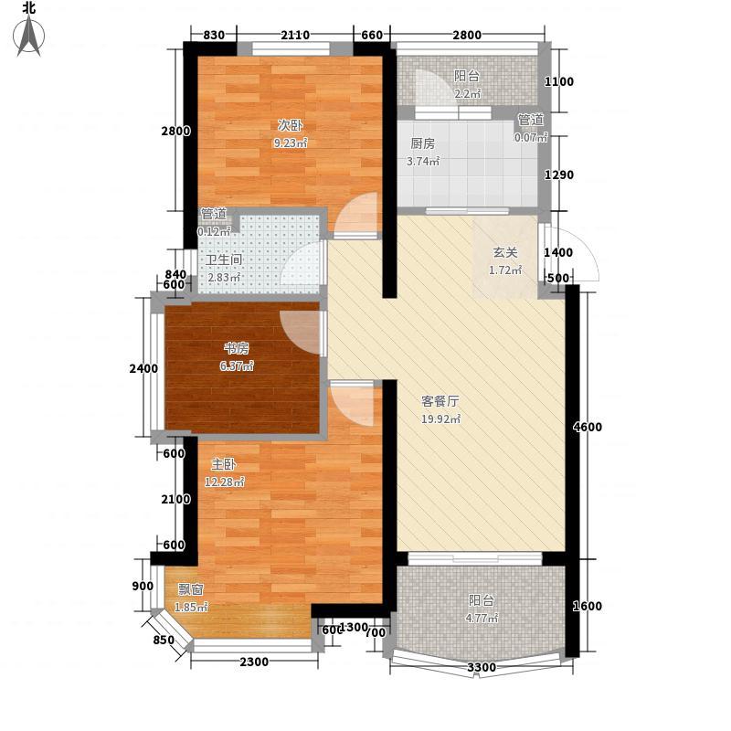 碧桂园・澜江华府83.75㎡2栋605-A户型3室2厅1卫1厨