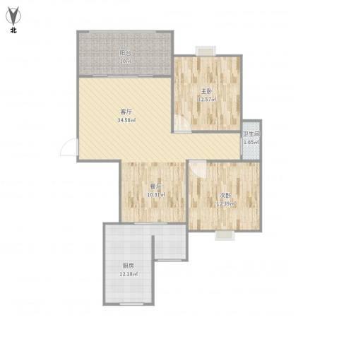 宝宸怡景园2室1厅1卫1厨112.00㎡户型图
