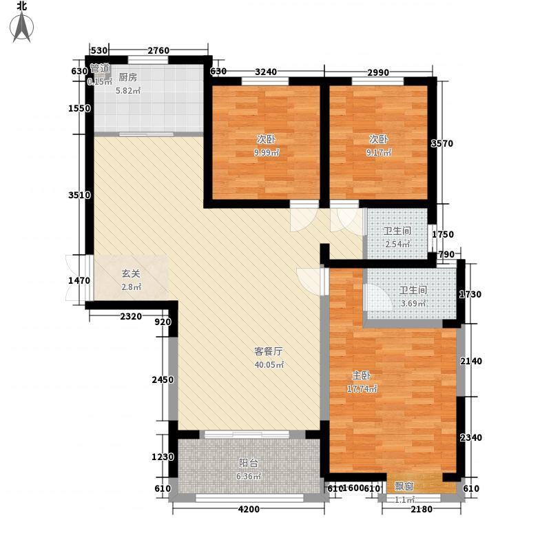 许继天宝盛世花园136.44㎡1户型3室2厅2卫1厨