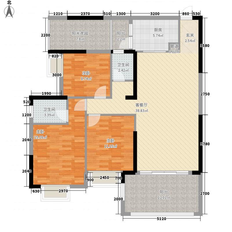 广汇・圣湖城1124.41㎡10#楼标准层03户型3室2厅2卫1厨