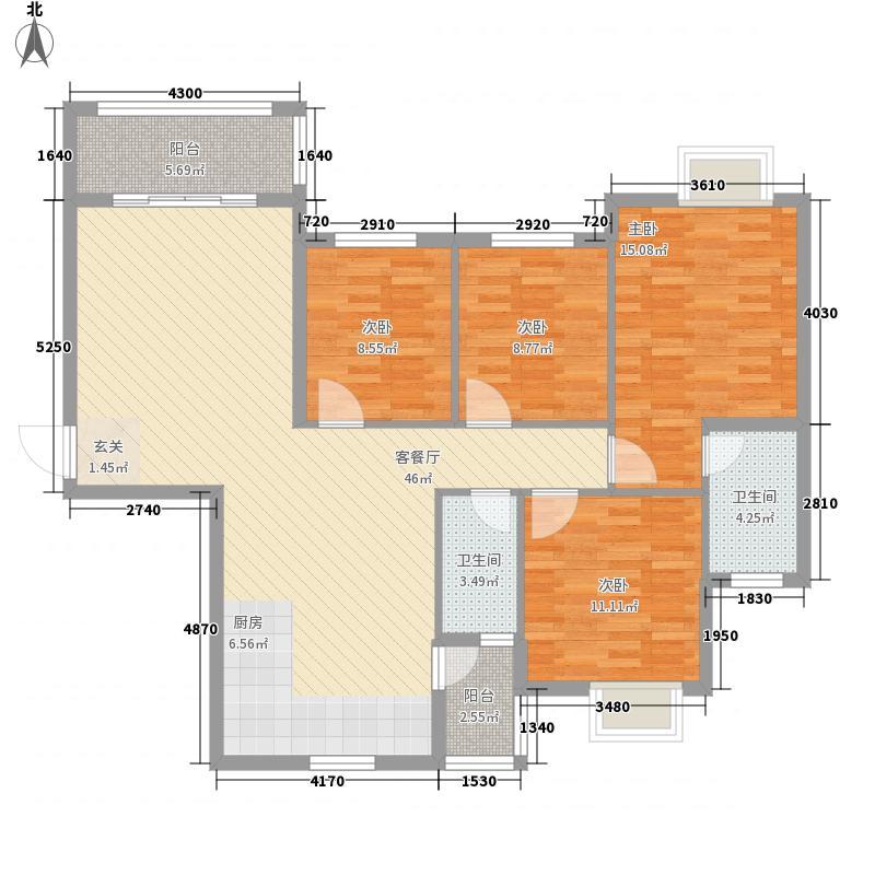 万景城133.74㎡A2栋B户型4室2厅2卫1厨