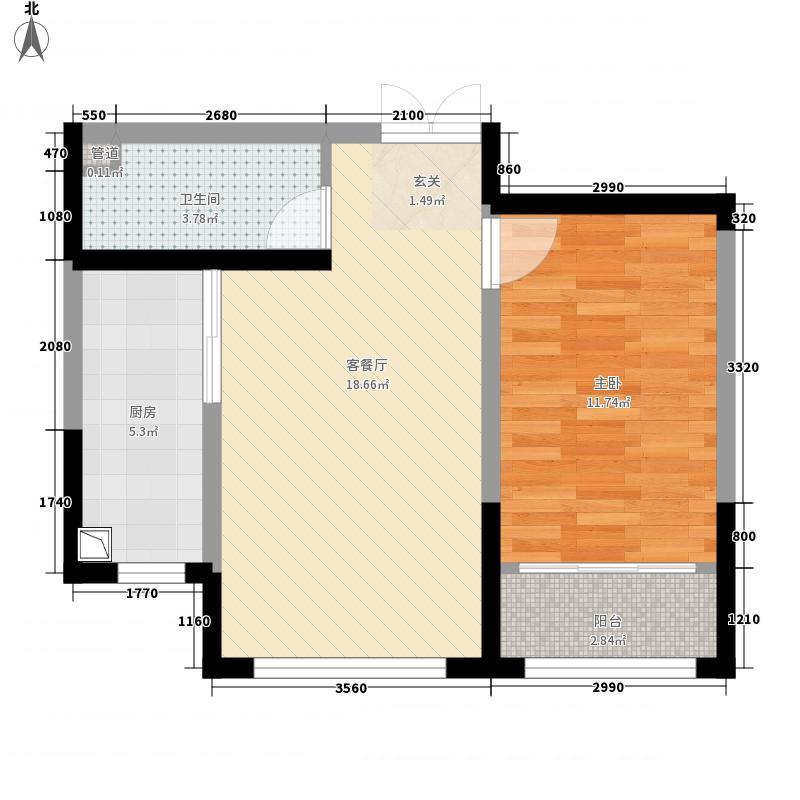 滨河园二期・时代城62.00㎡E2户型1室2厅1卫1厨
