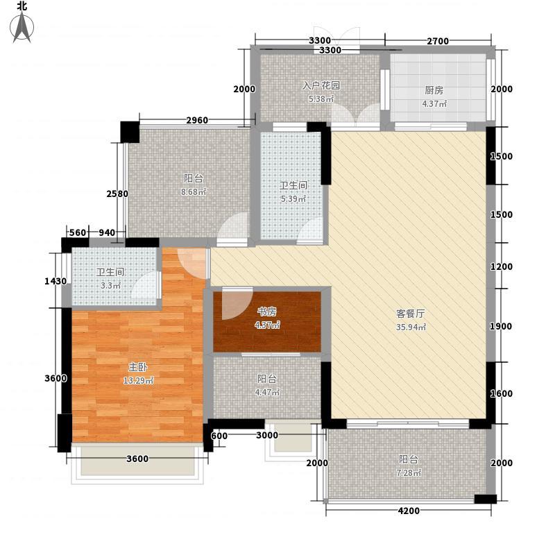 粤海时代新城1116.20㎡1#C1户型2室2厅2卫1厨