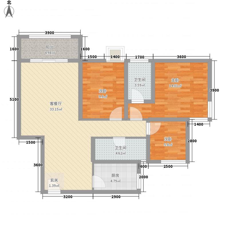 桃溪河畔御龙湾15.54㎡6#楼-C户型3室2厅2卫1厨
