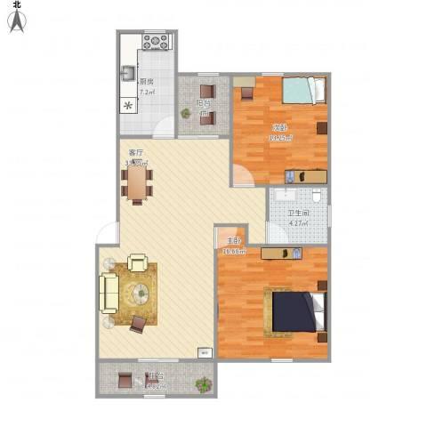 山水华庭2室1厅1卫1厨112.00㎡户型图