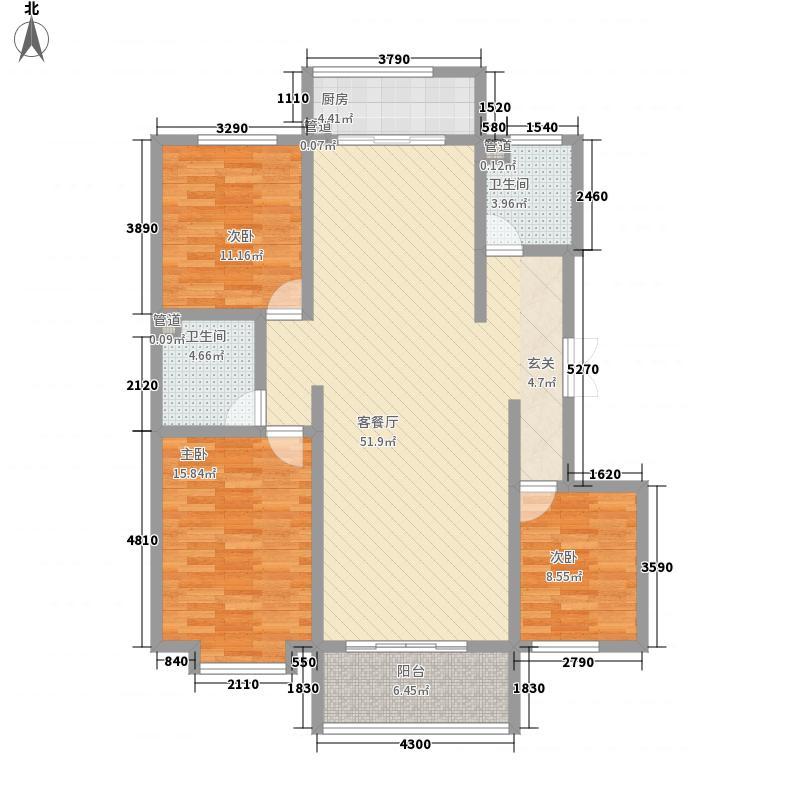鑫华庄园138.40㎡F1户型3室2厅2卫1厨