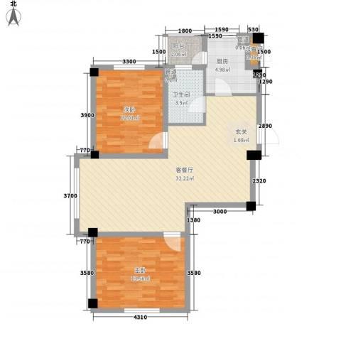 山水龙城2室1厅1卫1厨85.00㎡户型图