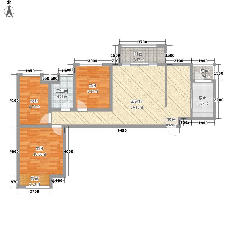桃溪河畔御龙湾12.10㎡4#楼-A户型3室2厅1卫1厨