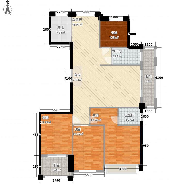 江南锦园2166.20㎡A2阳台户型4室2厅2卫1厨