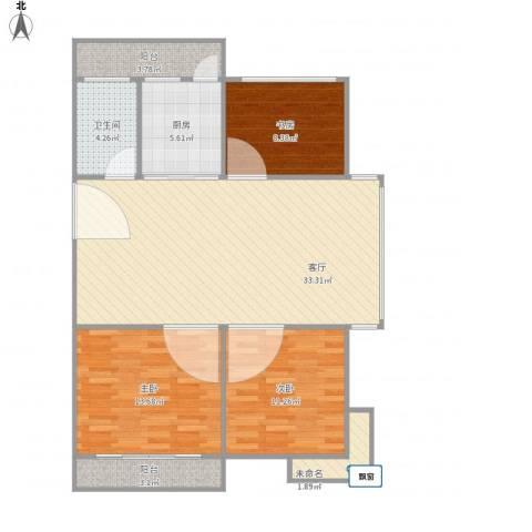 锦江南苑3室1厅1卫1厨115.00㎡户型图