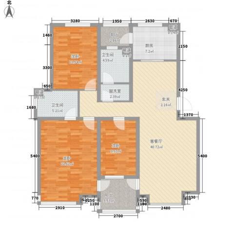 山水龙城3室2厅2卫1厨115.31㎡户型图