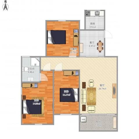 金美林花园3室2厅1卫1厨94.00㎡户型图