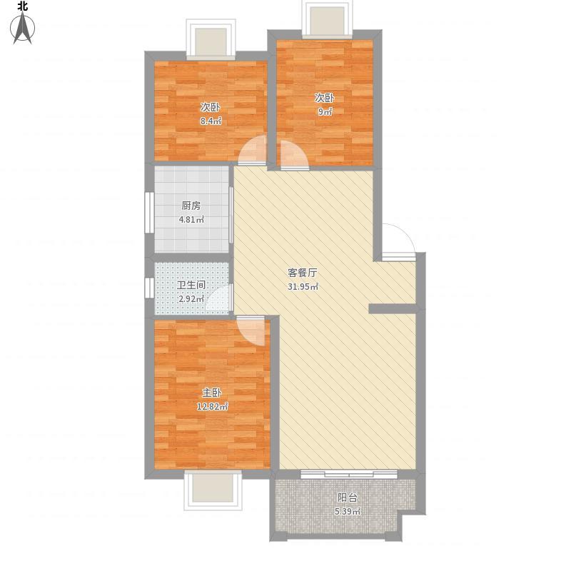 鼎翔珍珠湖K1户型三室二厅