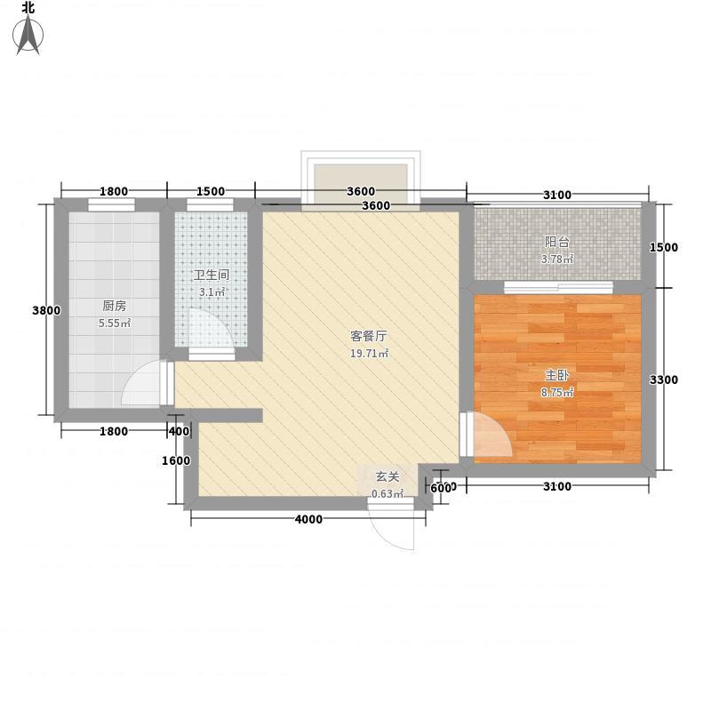 石嘉・永宁港湾55.75㎡永宁港湾D户型1室2厅1卫1厨