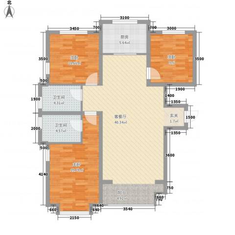 锦绣鹏城3室1厅2卫1厨127.00㎡户型图