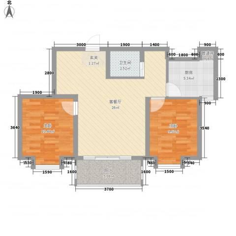 锦绣鹏城2室1厅1卫1厨85.00㎡户型图