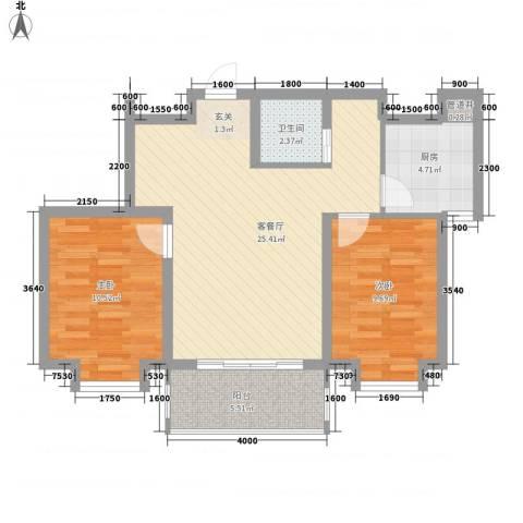锦绣鹏城2室1厅1卫1厨84.00㎡户型图