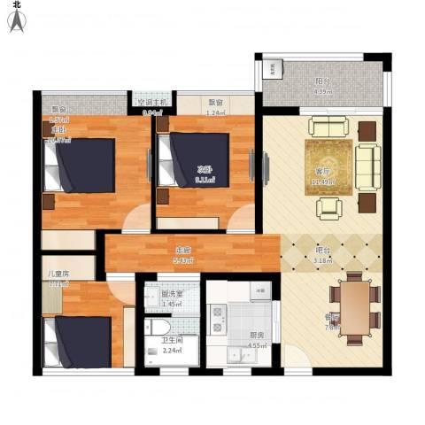 招商小石城八期1室1厅1卫1厨81.28㎡户型图