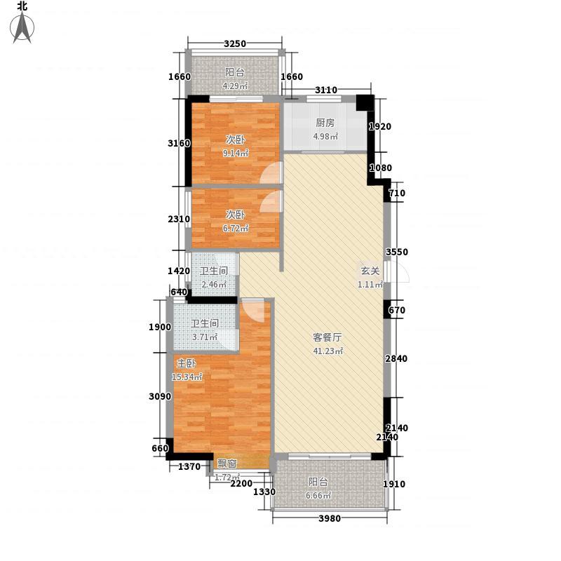 清华城东区131.77㎡24-28层1梯02户型3室2厅2卫1厨