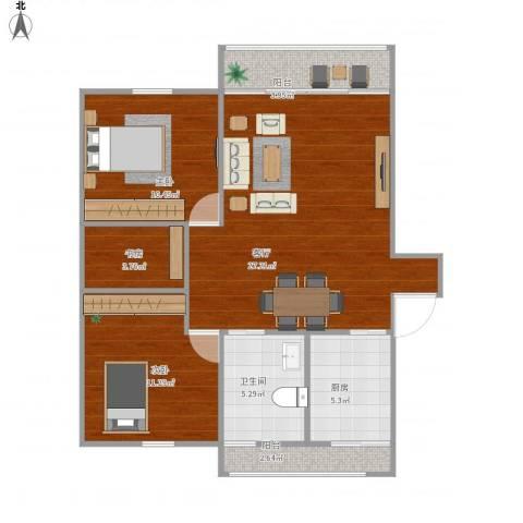 建德花园百合苑3室1厅1卫1厨95.00㎡户型图