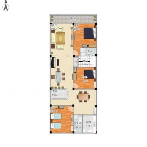 东方新天地大厦3室1厅2卫1厨215.00㎡户型图