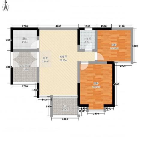 凯信水韵滨江二期公园大帝2室1厅1卫1厨84.00㎡户型图
