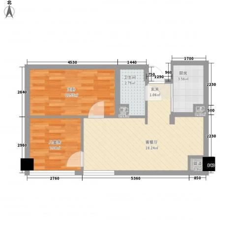 阳光金峰阁2室1厅1卫1厨77.00㎡户型图