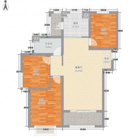 浮来春公馆3室1厅1卫1厨118.00㎡户型图