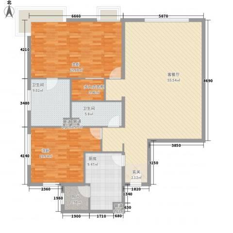 白金公寓2室1厅2卫1厨178.00㎡户型图