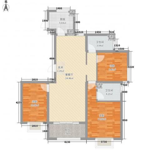 浮来春公馆3室1厅2卫1厨127.00㎡户型图