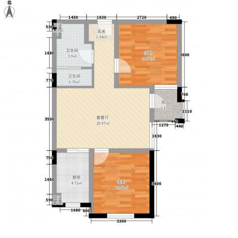 唯美品格2室1厅2卫1厨80.00㎡户型图