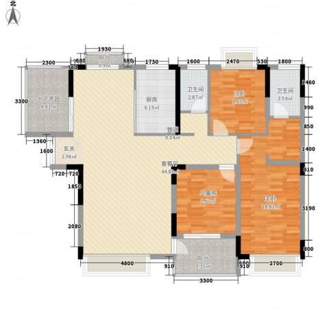滨江新外滩3室1厅2卫1厨152.00㎡户型图