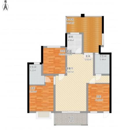 滨湖世纪城徽杰苑3室1厅2卫1厨156.00㎡户型图