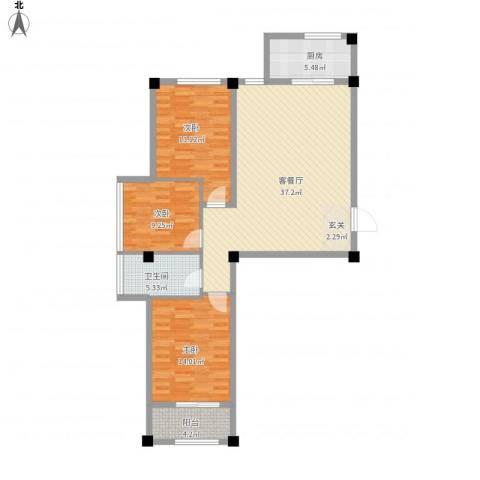百盛朗庭3室1厅1卫1厨125.00㎡户型图