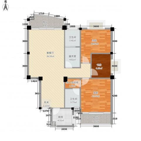 吉星佳地3室2厅2卫1厨105.36㎡户型图