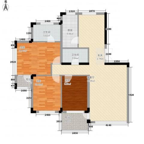 永畅美域3室1厅2卫1厨136.00㎡户型图