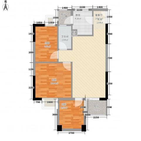 华润广场3室1厅1卫1厨135.00㎡户型图