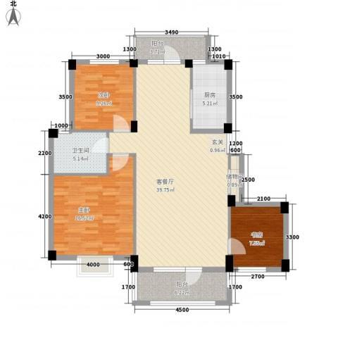 南郡天下3室1厅1卫1厨127.00㎡户型图