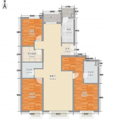 集美花园3室1厅2卫1厨107.48㎡户型图