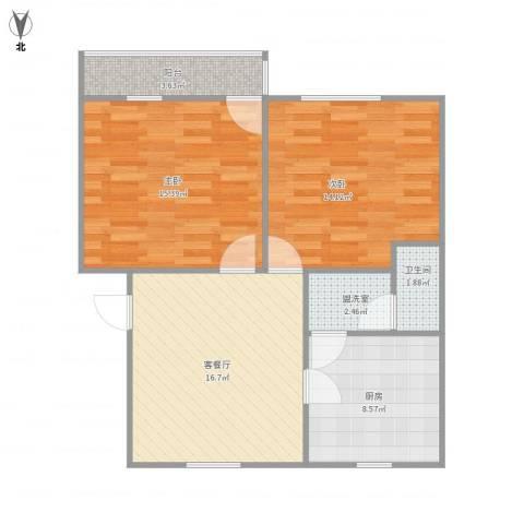 体育场路2室2厅1卫1厨85.00㎡户型图