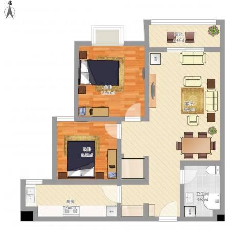 汇通新城2室1厅1卫1厨105.00㎡户型图