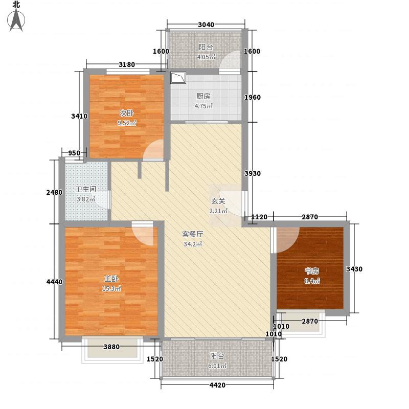 恒隆广场126.00㎡B户型3室2厅1卫1厨