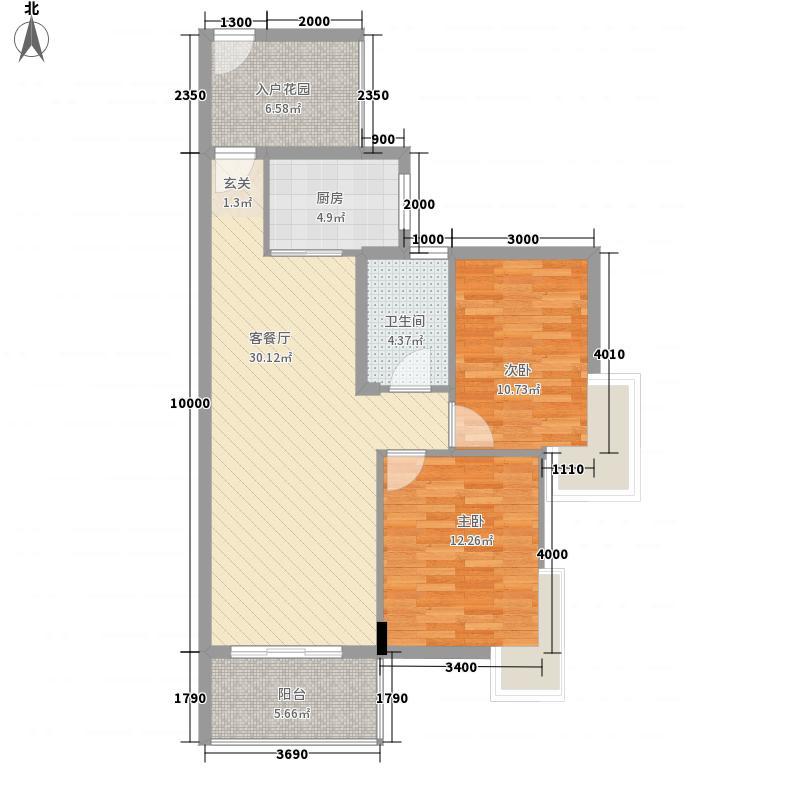 龙峰・学府新城87.60㎡C1-04户型2室2厅1卫1厨