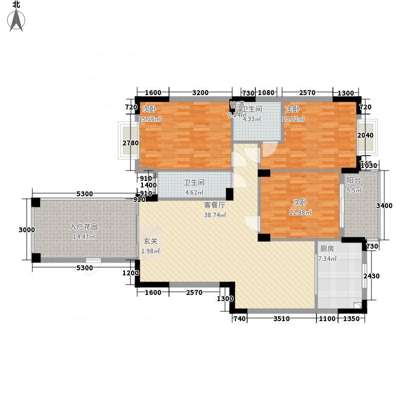 方圆豪庭B户型3室2厅1卫1厨
