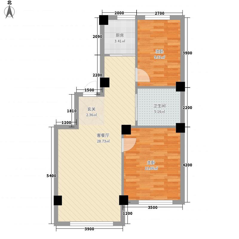 金丰・半山庭院P户型2室2厅1卫1厨